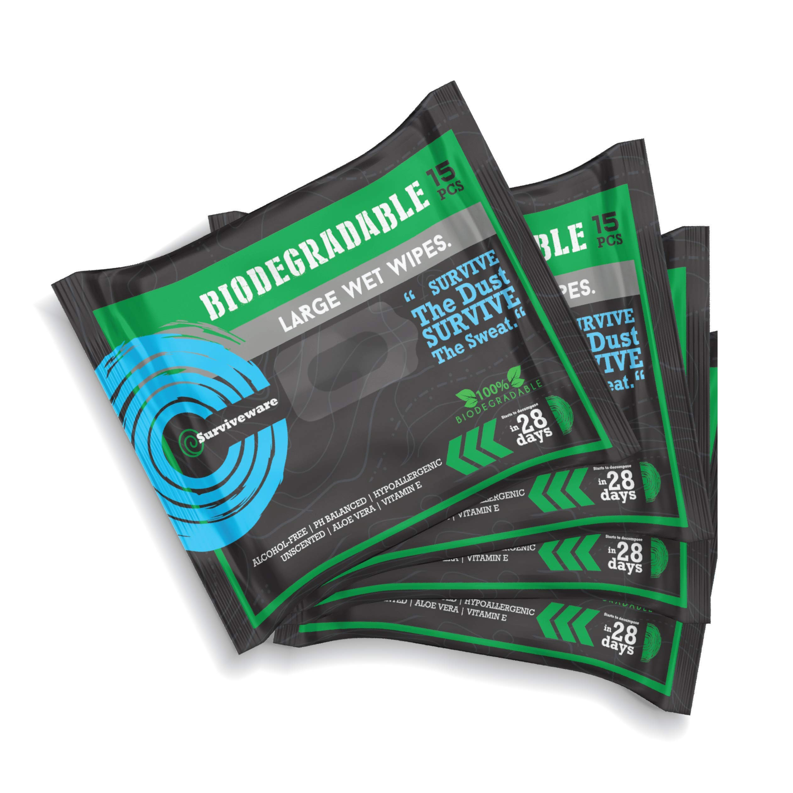 Surviveware Biodegradable Wet Wipes - 4-Pack - Made for Lightweight Traveling - Extra Large Wipes with Compact Packaging. Designed for Portability.