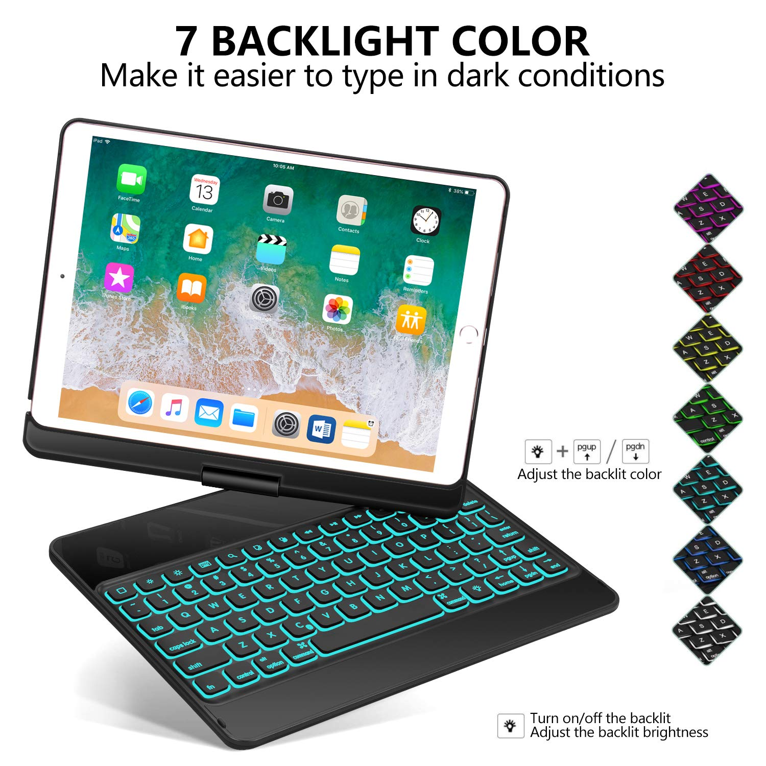 iPad Pro 10.5 Keyboard Case for iPad Pro 10.5 inch 2017 /iPad Air 10.5 (3rd Gen) 2019, 360 Rotate BT/Wireless Backlit Keyboard Case/Smart Auto Sleep-Wake Case/Ultra-Thin Keyboard Cover (Black) by Earto (Image #4)