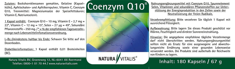 coenzym Q 10 Cápsulas de Natura Vitalis GmbH: Amazon.es: Salud y cuidado personal