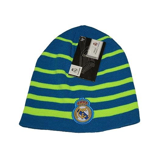 689726c5fc6 Amazon.com  Real Madrid Beanie Skull Cap Hat Neon Blue New Season 2015-2016  (Blue)  Clothing