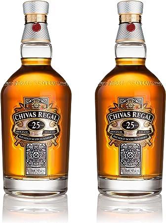 Chivas Regal 25 años Blended Scotch Whisky 2er Set, Whiskey, Schnaps, Spirituose, Alcohol, Botella, 40%, 2x700 ml