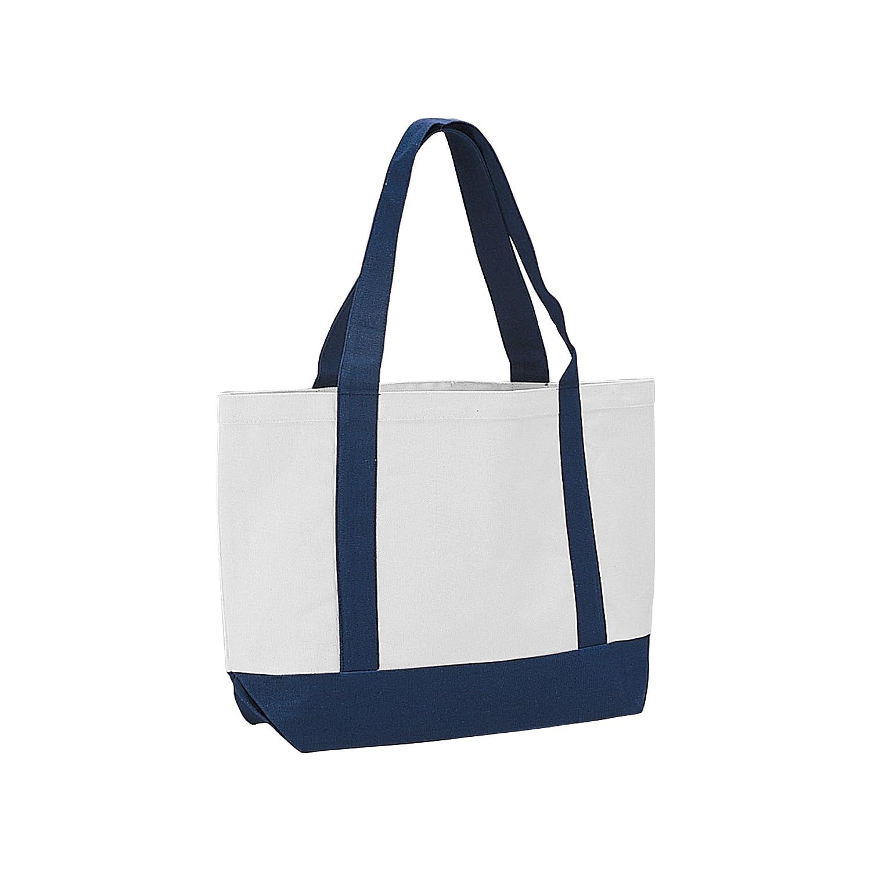 コットンキャンバストートバッグbag-1503b B01DAIWO8O  ホワイト/ネイビー
