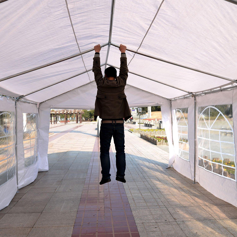 Outsunny Carpa de Jadín Gazebo 6x4m Pergola Cenador Pabellón 4 Paneles Laterales 6 Ventanas para Fiesta Eventos Bodas Acero PE Blanco: Amazon.es: Jardín