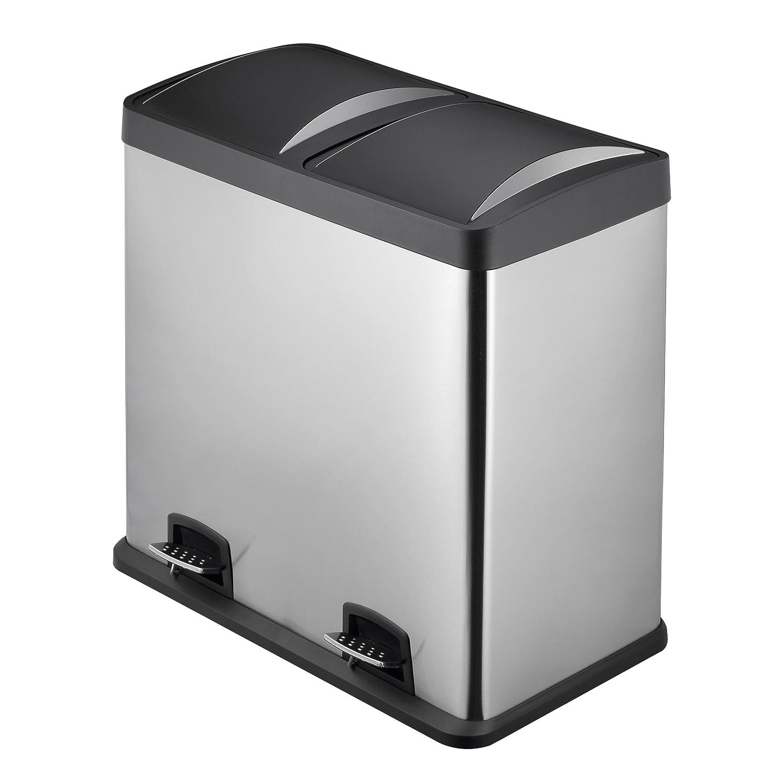 Mari Home 48L Cubo de basura de acero inoxidable huella digital resistente Basurero reciclaje Dos compartimientos Con penal (2 penal, 2x24L): Amazon.es: ...