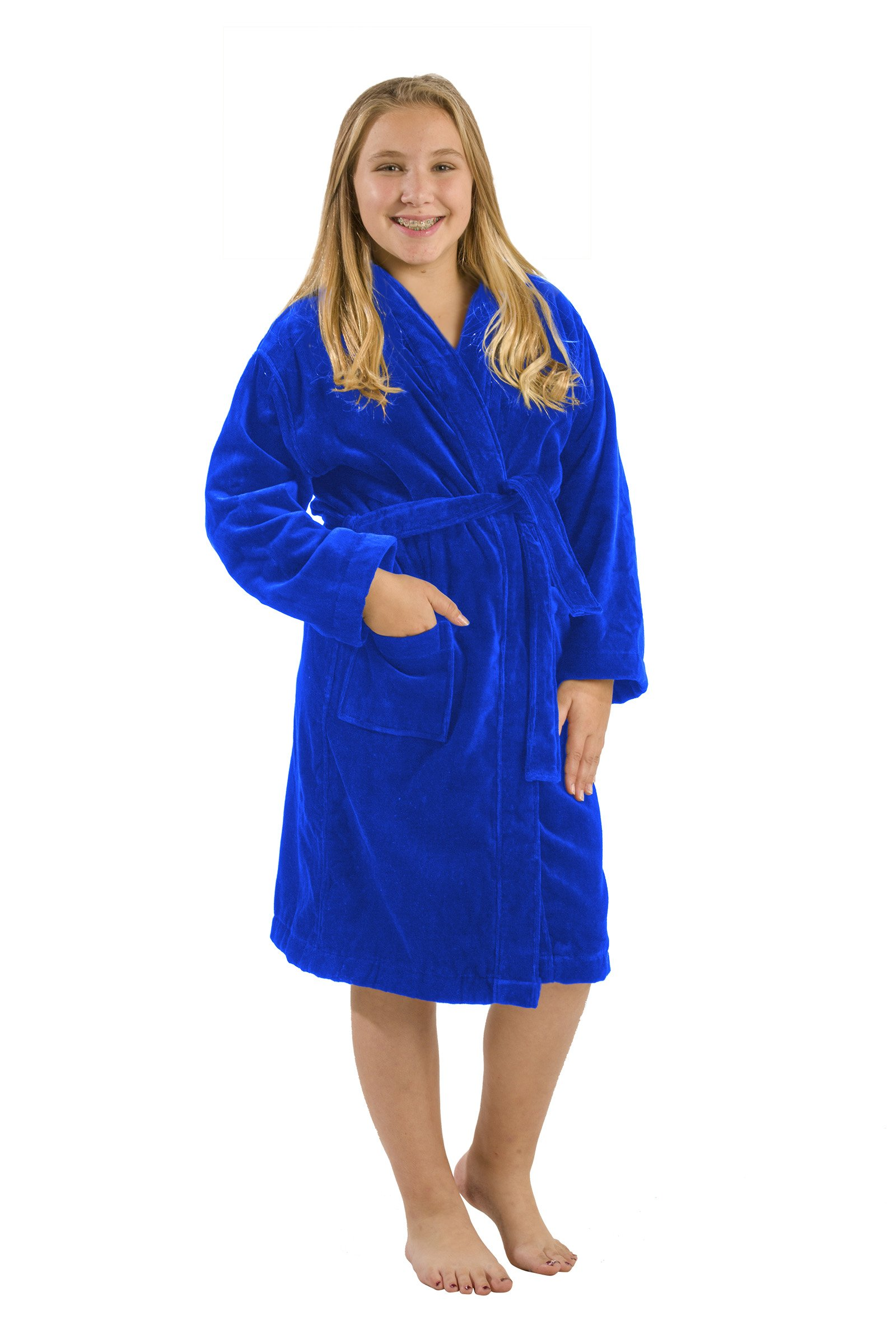 byLora Custom Embroidered Hooded Kids Robes, Royal Blue, Small