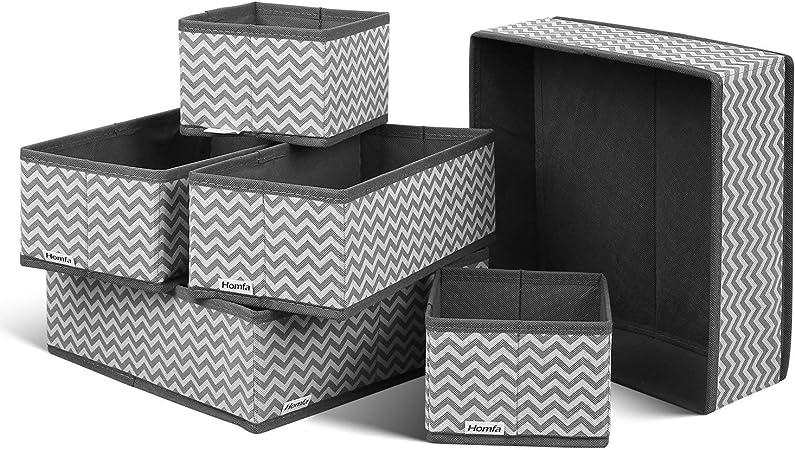 Ximger - Juego de 6 Cajas de almacenaje de Tela Plegables, para Ropa Interior, Calcetines, organizadores, Cajas Plegables, Caja de Tela para cajones, Sistema de ordenación Gris: Amazon.es: Hogar