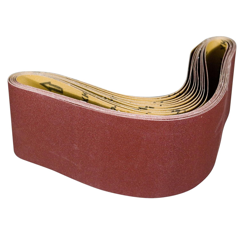 POWERTEC 110110 4-Inch x 36-Inch 120 Grit Aluminum Oxide Sanding Belt, 10-Pack