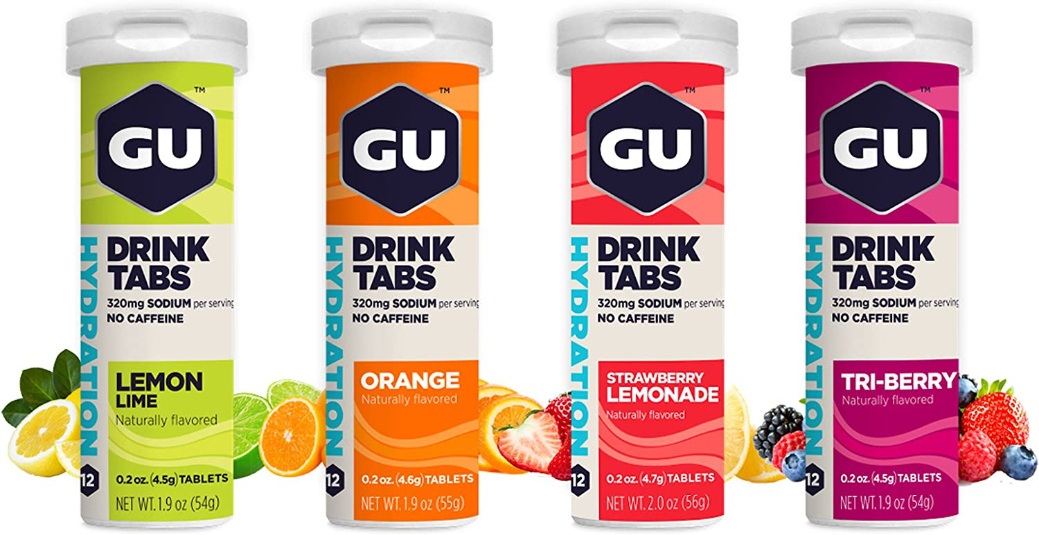 GU Energy Hydration Electrolyte Drink Tablets, 4-Count, Assorted Flavors