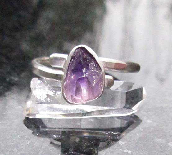 670337443adec Amazon.com: Raw Amethyst Crystal Ring Size 8 Sterling Silver Bypass ...