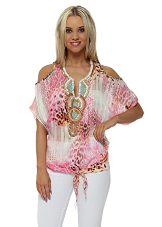c4e33e5175dec3 French Boutique Fuchsia Leopard Print Beaded Cold Shoulder Top One Size  Pink: Amazon.co.uk: Clothing