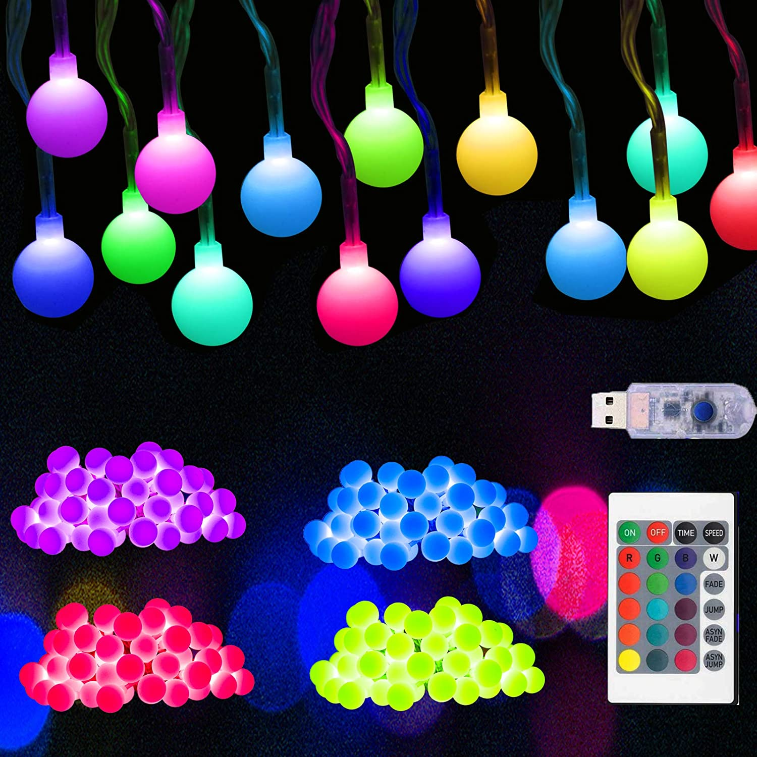 33 FT 50 LED Globe 16 Colors Changing Christmas Lights, USB Powered String Lights Twinkle Tree Lights with Remote, Decor for Indoor Bedroom Xmas Party Wedding