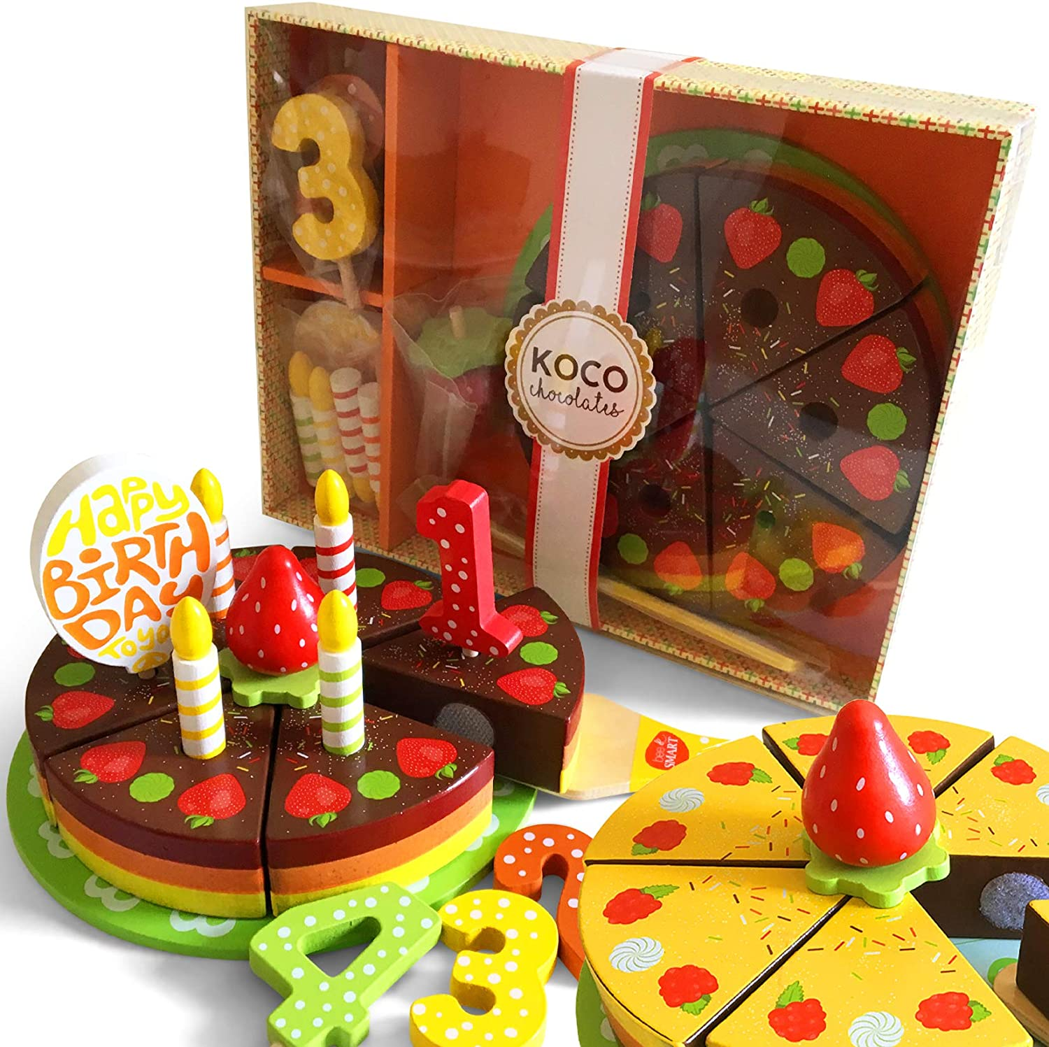 Wooden Toy Play Birthday Cake Set - Wooden Pretend Play Food Toy,18 Pieces Inclwith Wooden Cake Server, Wooden Plate, Wooden Candles, Fruit and Decorations, Reversible 2-in-1 Cake, Rainbow Design