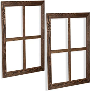 Ilyapa Window Frame Wall Decor 2 Pack - Large 18x22 Inch Rustic Espresso Wood Window Pane Country Farmhouse Decorations