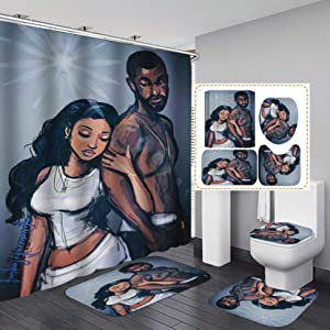 "Fashion&Man 4PCS/Set African Woman Shower Curtain Waterproof Polyester Bath Curtain Bathtub Curtains, Bathroom Rugs Bath Mat Toilet Lid Cover, Afro Lover Couple Bathroom Decor, 72""x72"", Couple"