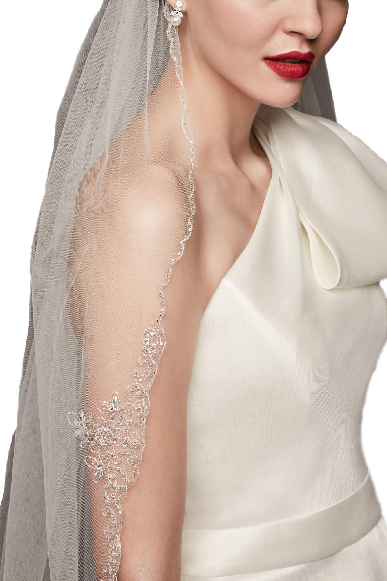 Passat Ivory 1T Ballet/Tea Metallic Embroidered Crest bridal veil rhinestones DB121