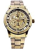 Mens Automatic Mechanical Skeleton Watch Metal Bracelet Bronze Tone Steampunk AMW-160