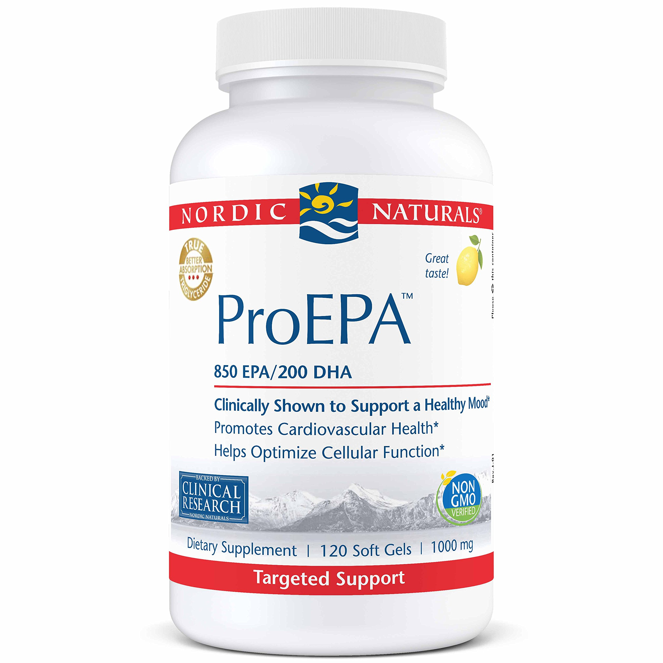 Nordic Naturals ProEPA - Fish Oil, 850 mg EPA, 200 mg DHA, Targeted Support for Cardiovascular Health, a Healthy Mood, and Optimal Cellular Function*, Lemon Flavor, 120 Soft Gels by Nordic Naturals