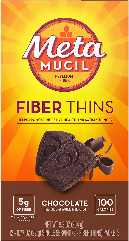 Metamucil Fiber Thins, Chocolate Flavored Dietary Fiber Supplement Snack with Psyllium Husk, 12 Servings