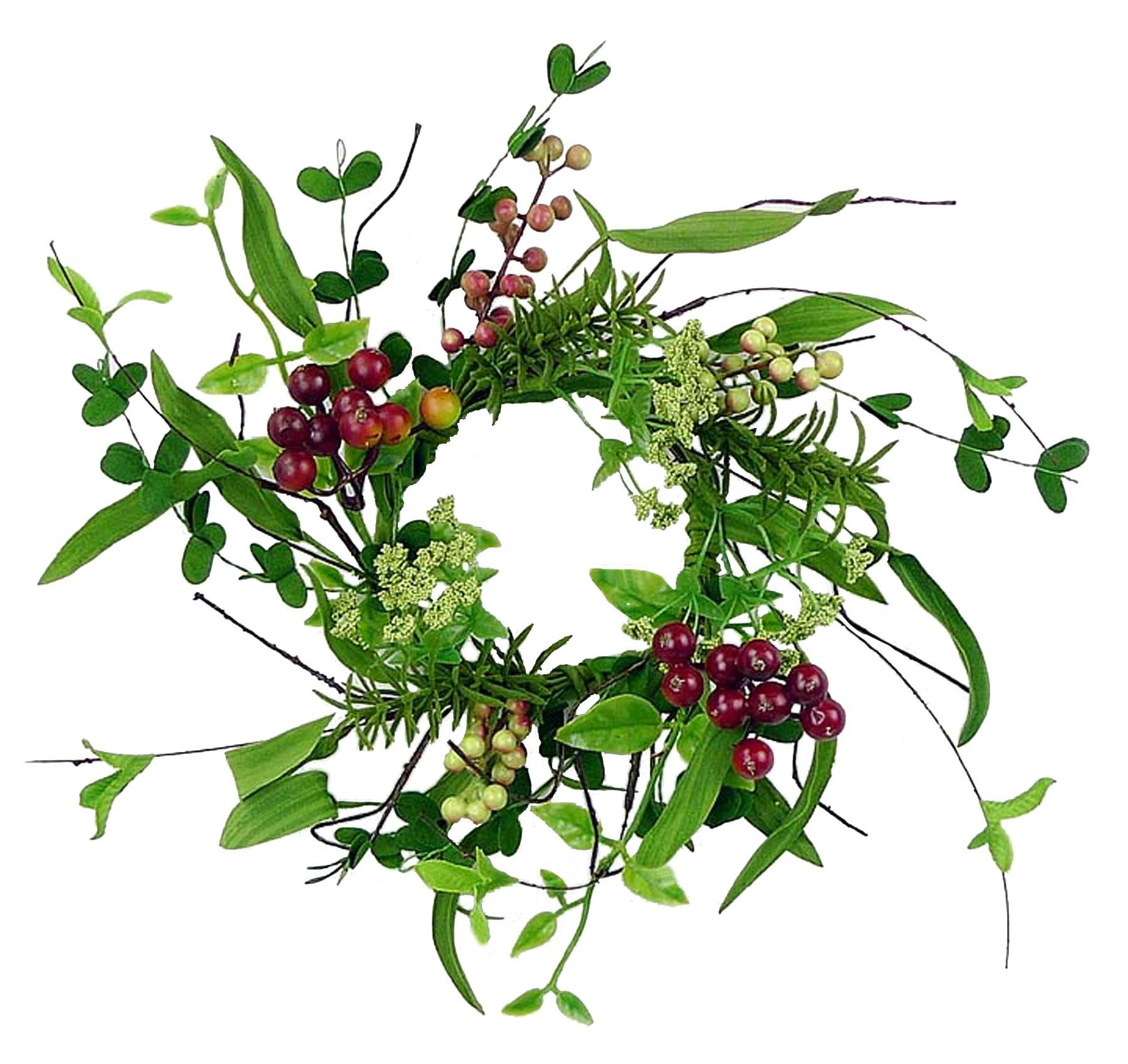 Christmas 12'' Candle Ring/ Mini-Wreath with Vines, Leaves, and Berries