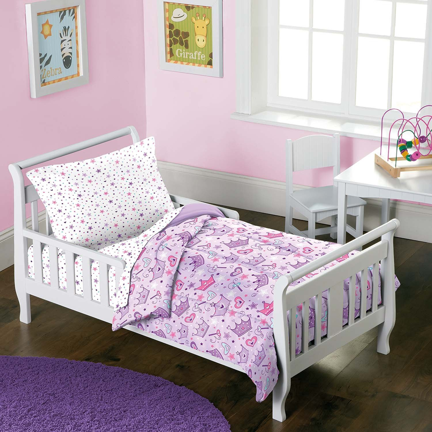 Dream Factory 2D74210JMU 4 Piece Stars & Crowns Bedding Set, Multicolor, Toddler