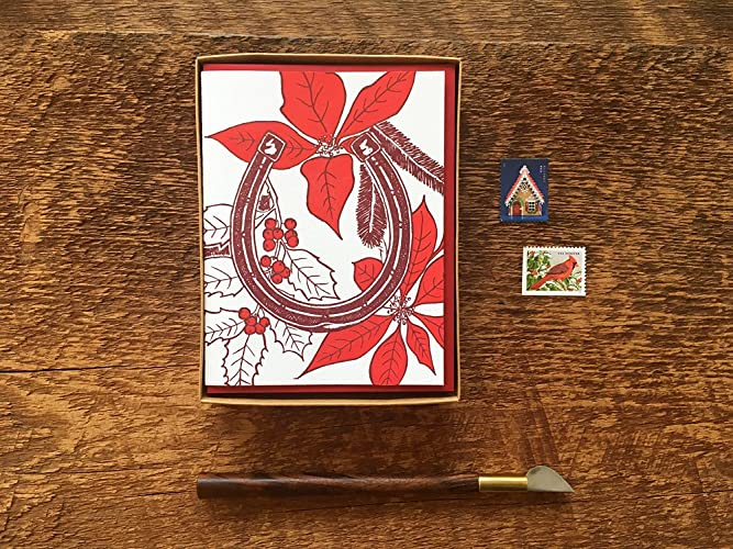Letterpress Christmas Cards.Amazon Com Lucky Horseshoe Holiday Card Boxed Set Of 8