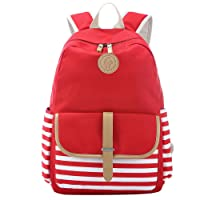 S-ZONE French Breton Nautical Striped Backpack Rucksack Marine Sailor Navy Stripy School Bags for Teenager Girls (C-Red)