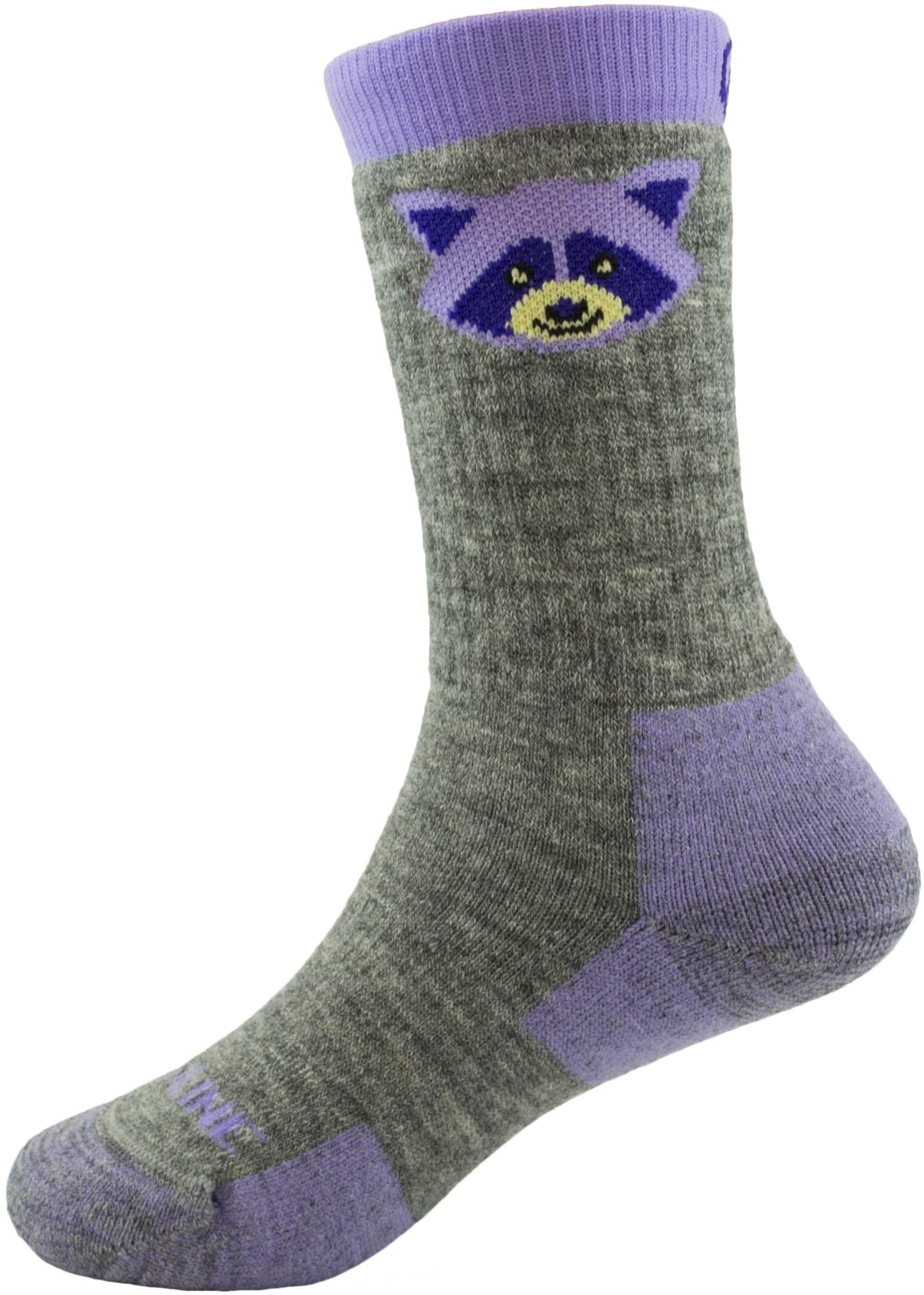 CloudLine Merino Wool Kid's Spirit Animal Socks - 2 Pack - Purple Racoon - Size Y-XS - Made in USA