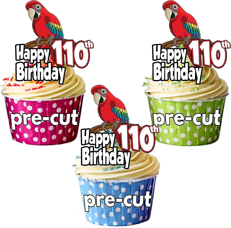 PRECUTÁ Parrot – 110 cumpleaños – adornos comestibles para cupcakes/decoraciones para tartas (Pack de 12): Amazon.es: Hogar