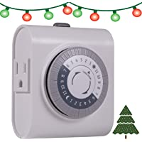 GE 24-Hour Heavy Duty Indoor Plug-in Mechanical Timer, 2 Grounded Outlets, 30 Minute Intervals, Daily On/Off Cycle, for Lamps, Seasonal, Christmas Tree Lights and Holiday Decorations, 15075, White