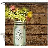 "JKYUKO mason jar floral barn wood western country Polyester Fabric Waterproof Shower Curtain 72"" X 72"""