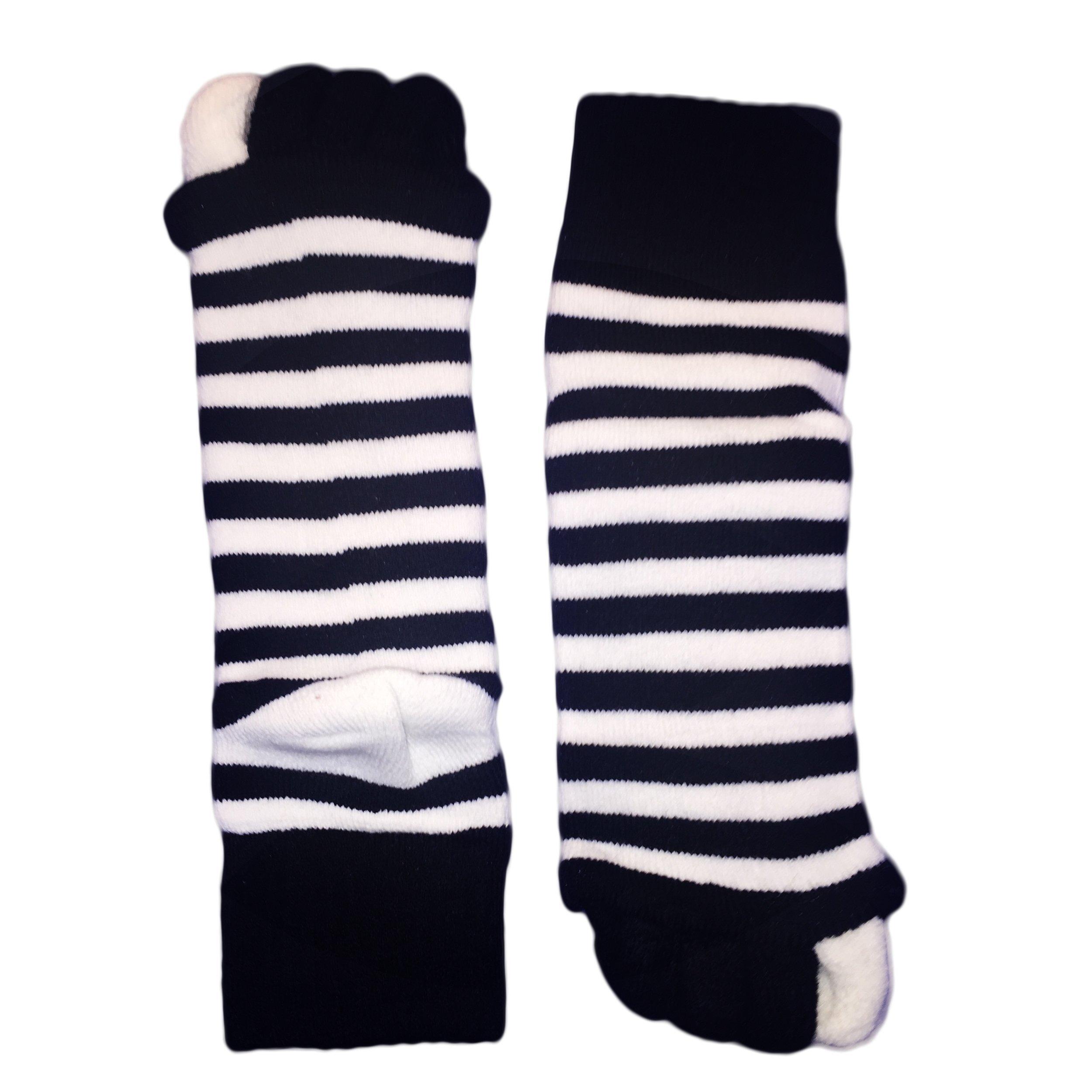 Moja Sports (Black/White, 1Pair) Toes Alignment Socks Open Five Toe Separator Spacer Relaxing Comfort Tendon Pain Relief Comfy Foot Sock Yoga Gym Pedicure (Black/White : 1 Pair, Medium)