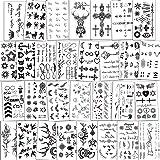 Konsait Temporary Tattoos for Women Girls Men Boys Kids(30 Sheets), Black Tiny Waterproof Temporary Tattoo Fake Tattoos Body