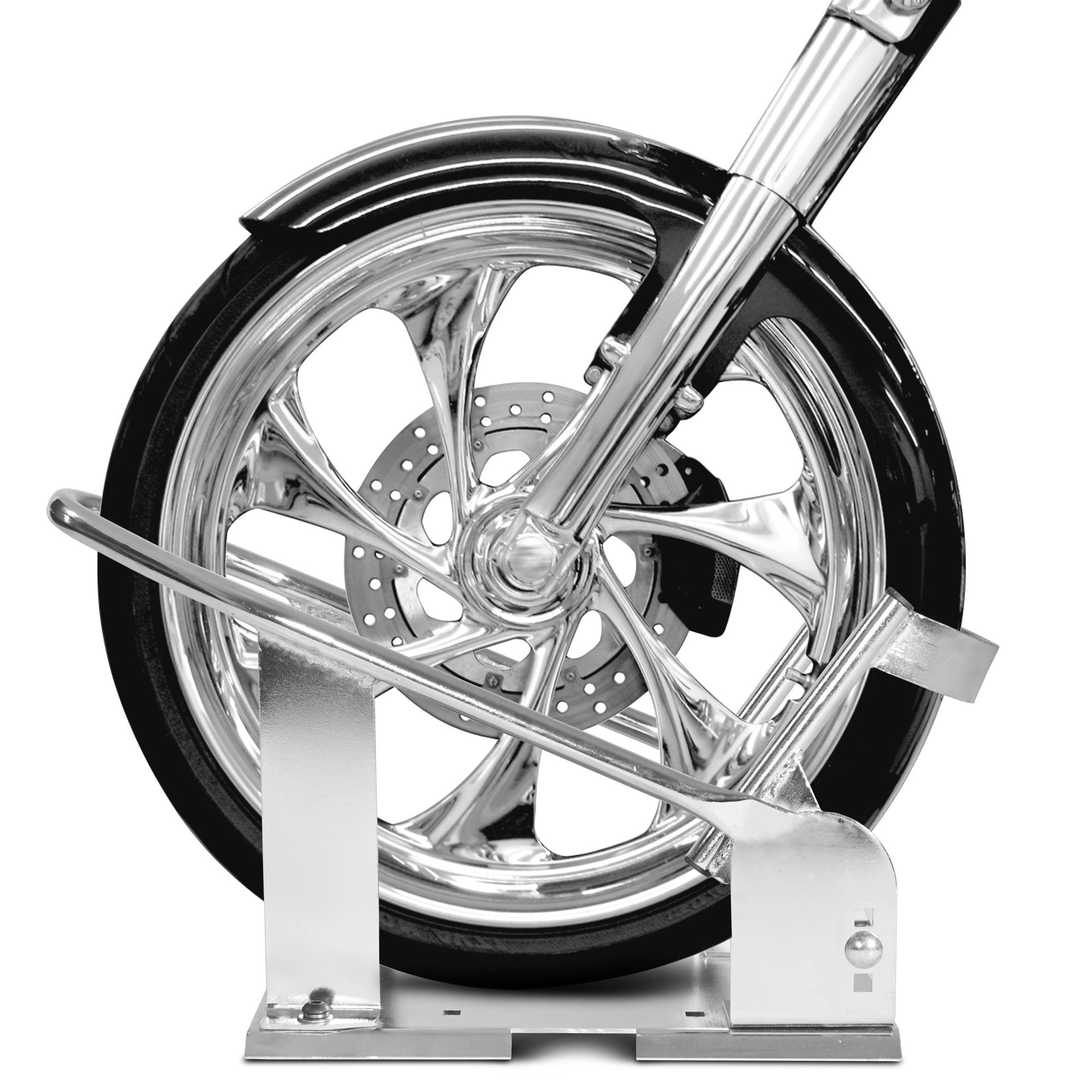 3 Position Adjustable Chrome Motorcycle Wheel Chock Stand Truck Trailer Mount by Titan Ramps (Image #6)