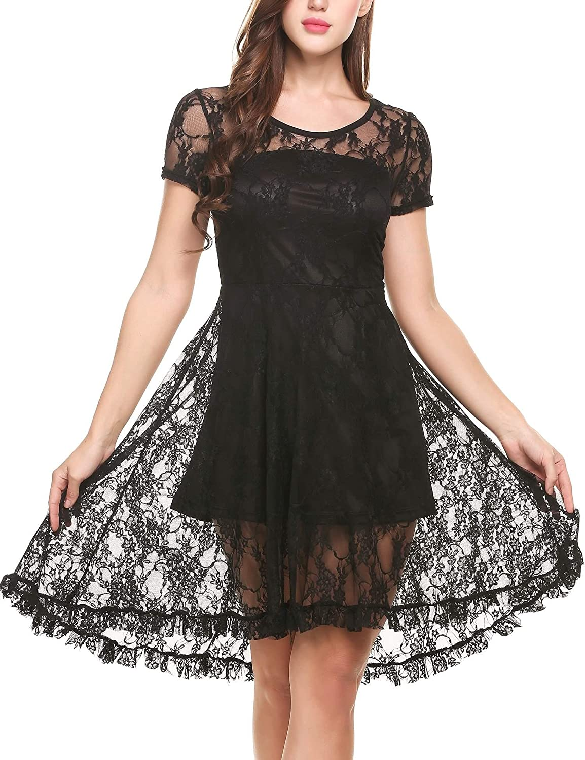 059772fb1741 Zeagoo Women 3 4 Sleeve Crew Neck Floral Lace Swing Cocktail Party Dress at  Amazon Women s Clothing store