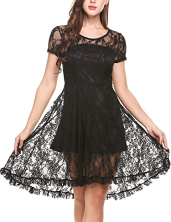 a2a5da6c56f Zeagoo Women s Casual Hi Low Lace O Neck Short Sleeve Summer Dress Black S