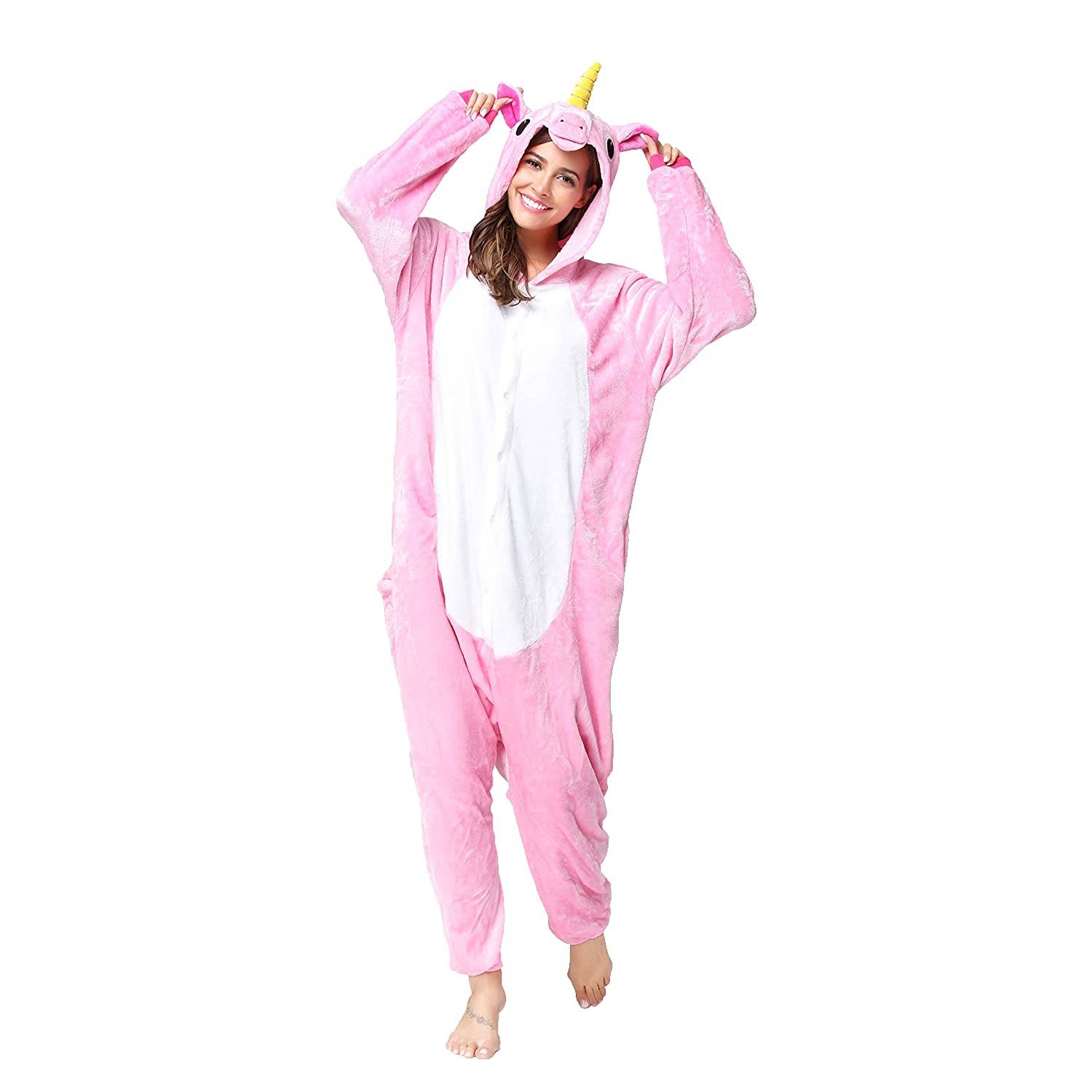 654e03552a50 Made of soft flannel,warm and cosy,animal design looks very vivid. The  front of the pajamas is buttoned and the hips are zippered. Unisex -  suitable for ...