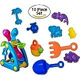 Toyrifik Sand Toys For Kids- Beach Toys Sandbox Set For Toddlers And Kids- Beach Molds, Shovel, Rake, Watering Pot, Water Wheel-10 Peice Sand Playset