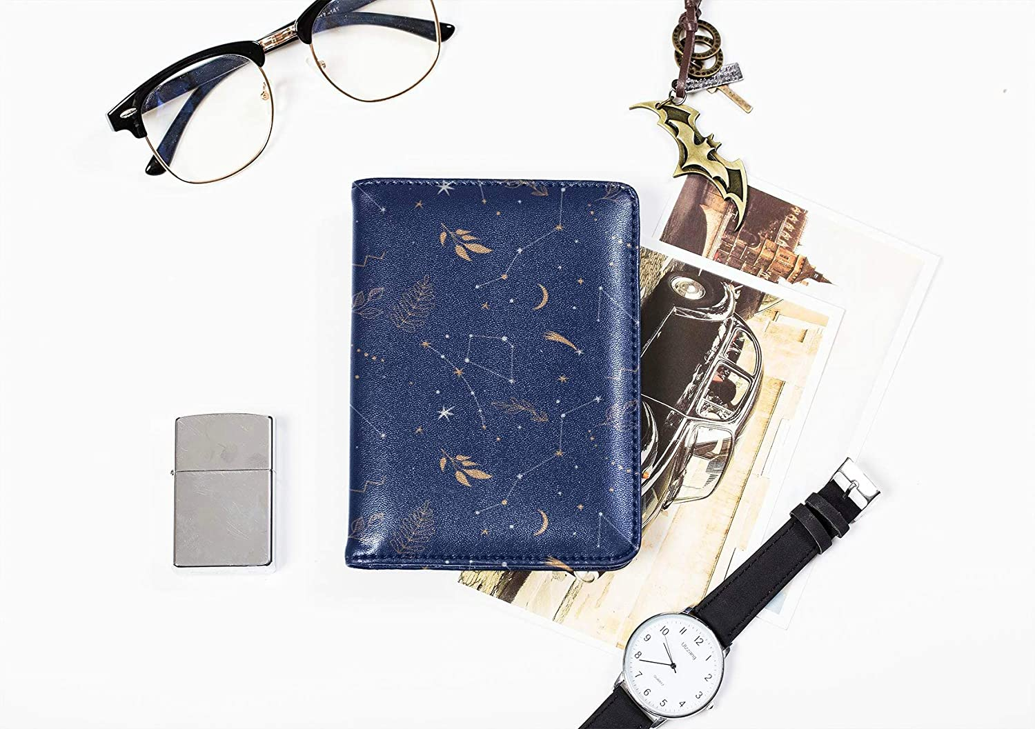 Small Passport Cover Dreamy Constellation Starry Sky Passport Covers Women Multi Purpose Print My Passport Case Travel Wallets For Unisex 5.51x4.37 Inch