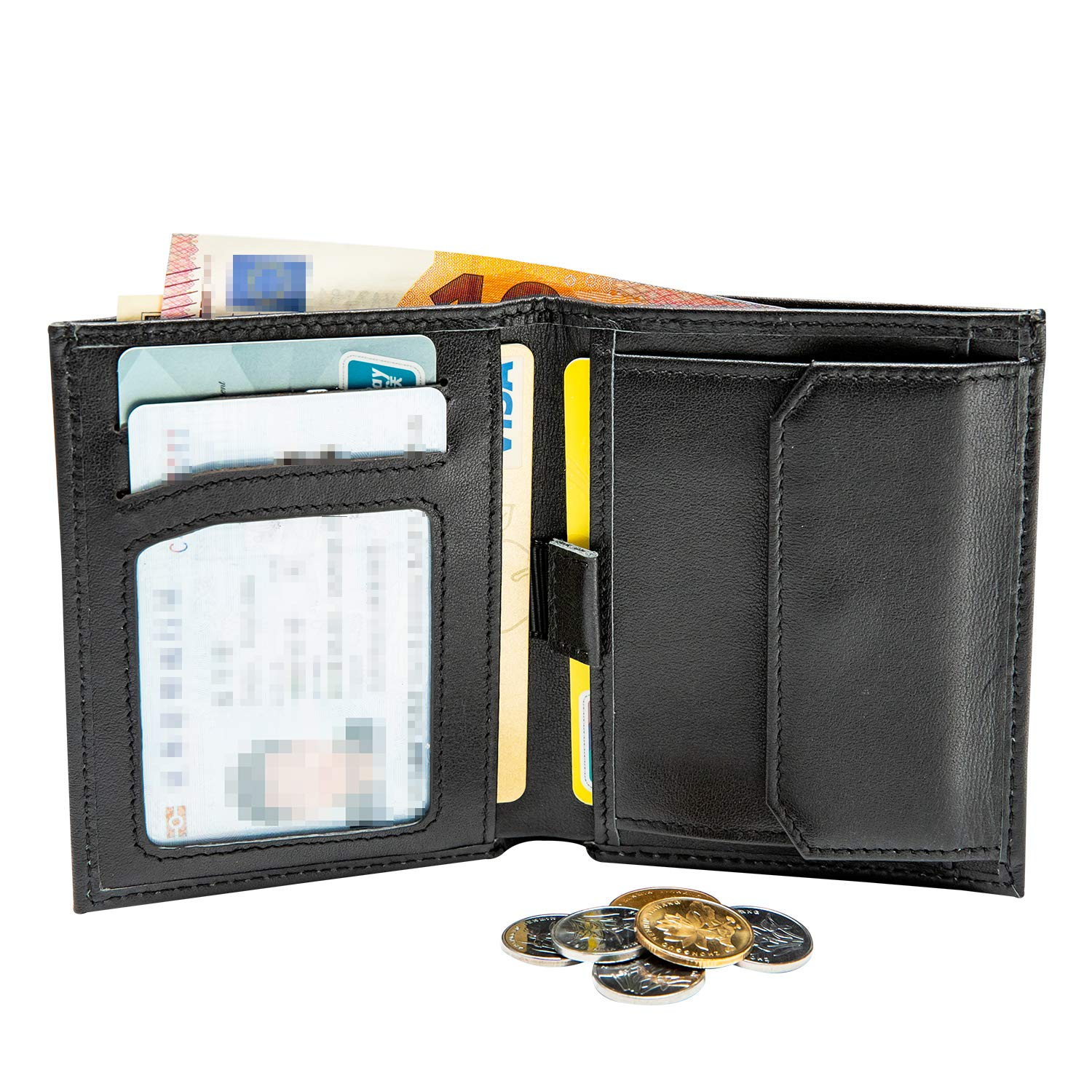 Black with ID Window Best Gift for Father Gents Gift Box Credit Card Slots /& Card Cases MOCOCITO Genuine Leather Slim Wallet RFID Blocking with Coin Pocket