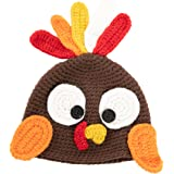 Thanksgiving Christmas Turkey Beanie Hat Cap Cute Cartoon Animal Beanie with Ear Flap Photograph Props for Baby Toddlers Brow