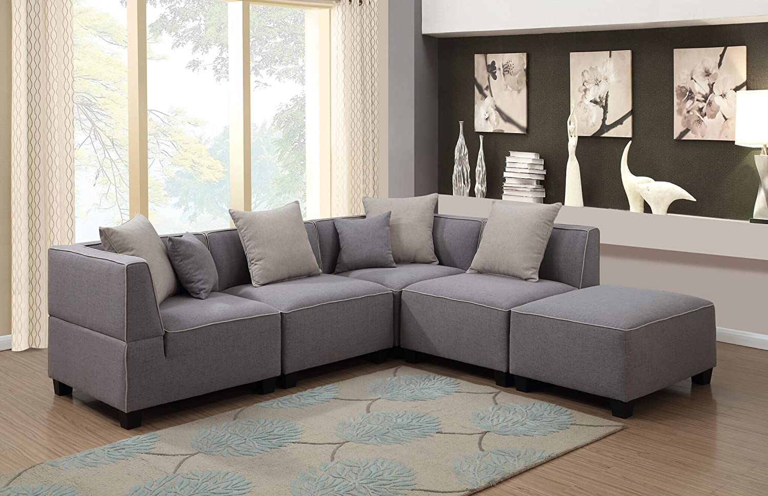 Amazon.com: AC Pacific 5 Piece Holly Collection Modern Linen Fabric  Upholstered L Shaped Living Room Tuxedo Sectional Sofa And Ottoman, Grey:  Kitchen U0026 ...
