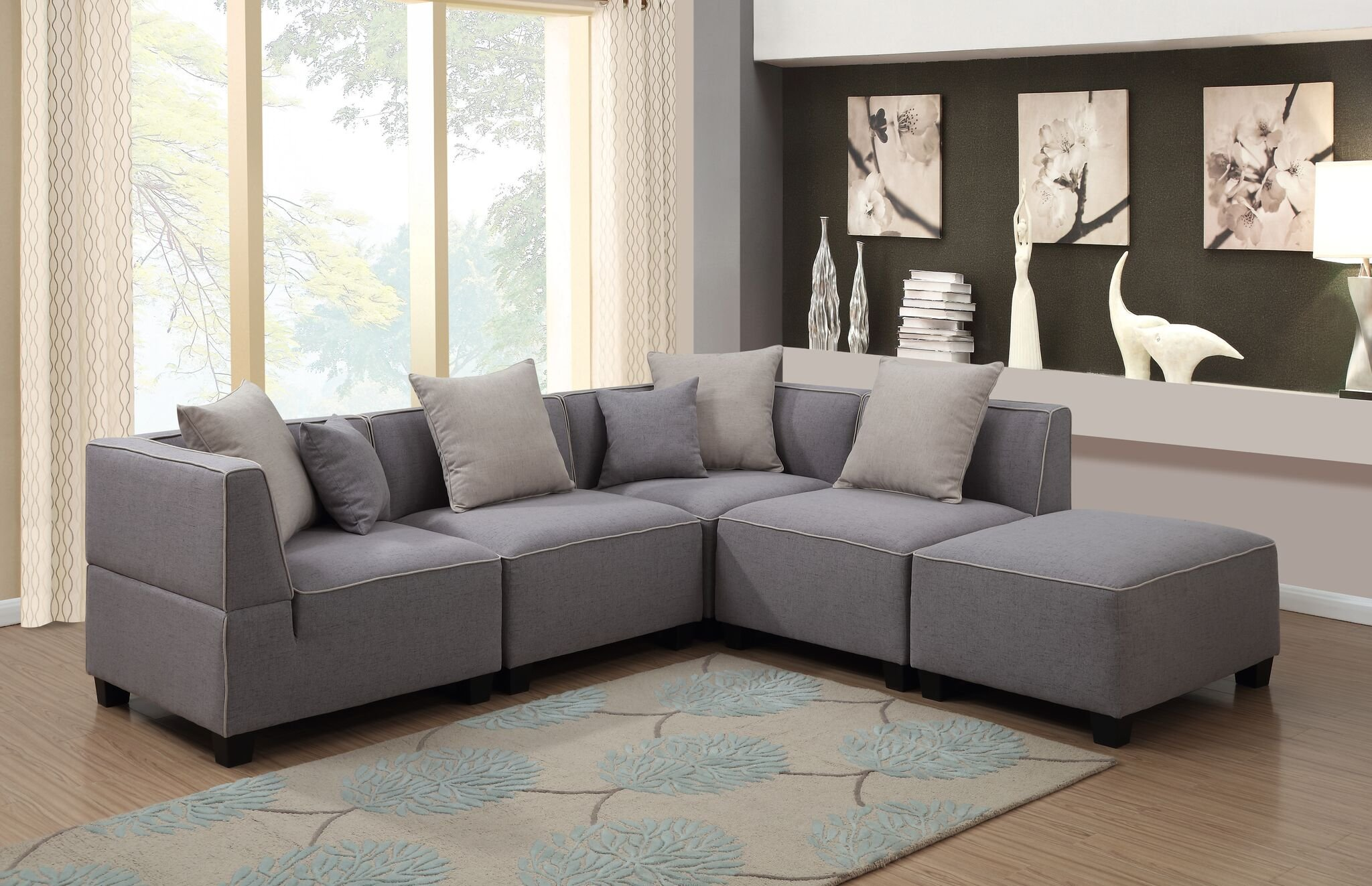 AC Pacific 5 Piece Holly Collection Modern Linen Fabric Upholstered L-Shaped Living Room Tuxedo Sectional Sofa and Ottoman, Grey by AC Pacific