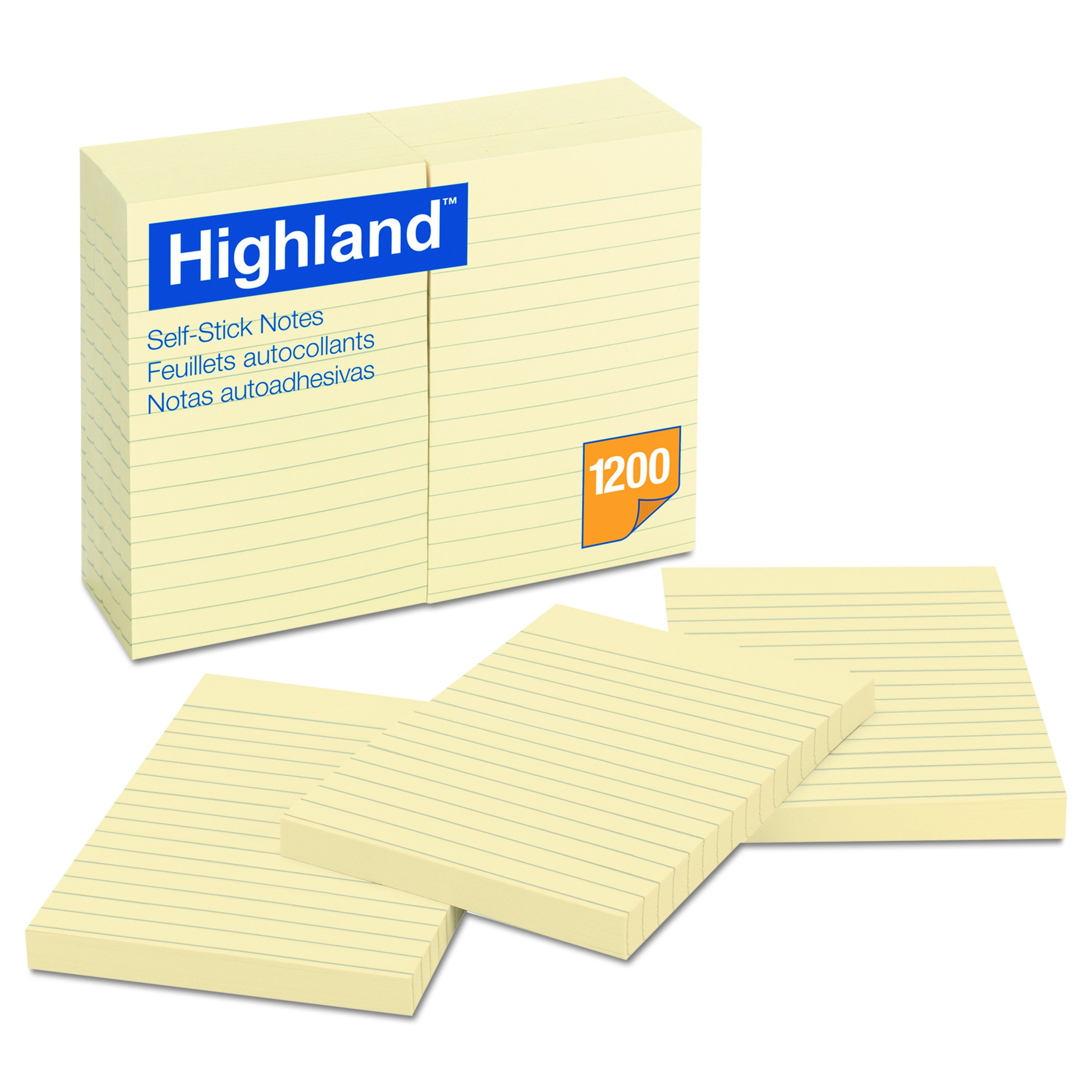 Highland Notes, Pad, 4 Inches x 6 Inches, Lined, Yellow, 12 Pads per Pack by Highland