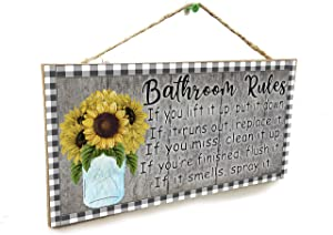 "Blackwater Trading Bathroom Rules If It Smells Spray It Farmhouse Buffalo Check Mason Jar Sunflowers 5"" x 10"" Sign"