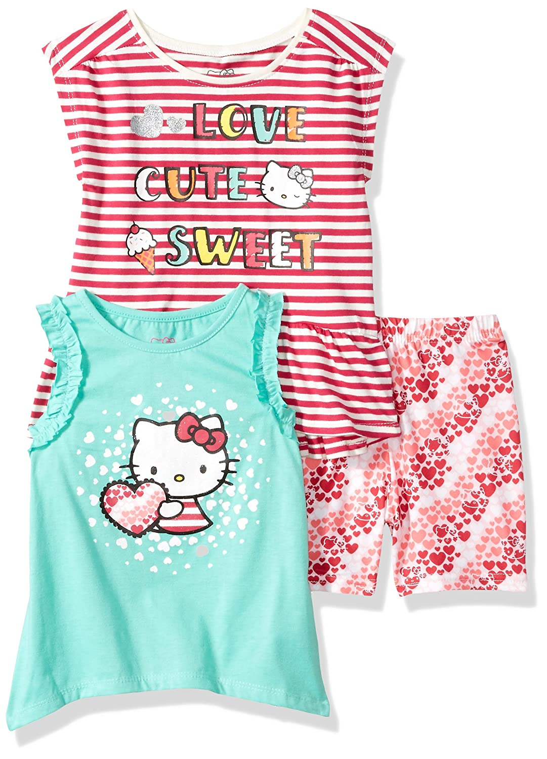 Hello Kitty Girls 3 Piece Short Set with Fashion Tank Top