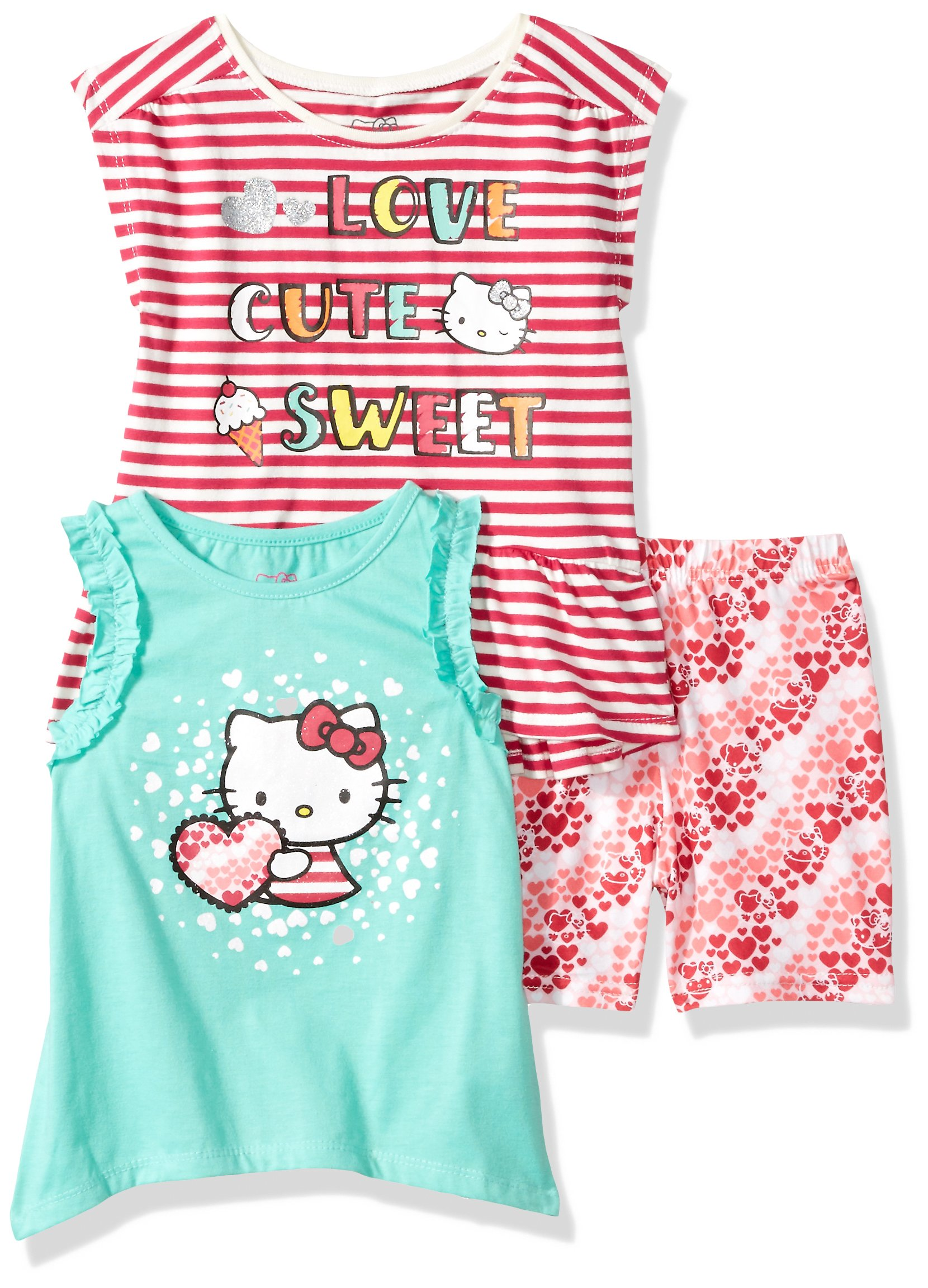 Hello Kitty Toddler Girls' 3 Piece Short Set With Fashion Tank Top, Poppy Red, 3T