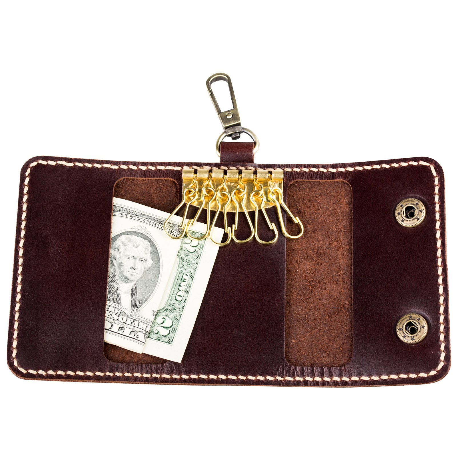 Ancicraft Key Case Holder Leather Handmade Bag Card Wallet by Handcrafted Gift (Dark coffee & clasp)