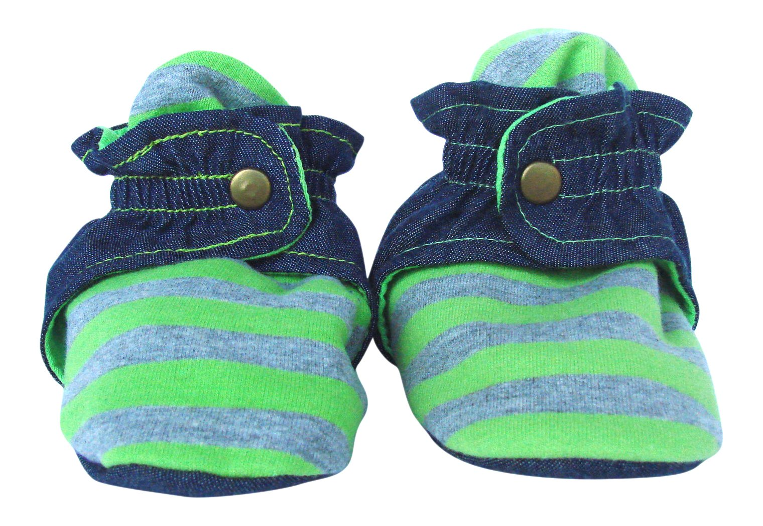 Trimfit Infant 1-Pack Stripes/Denim Booties with Clasp,Grey/Denim/Green,Large/12 Months