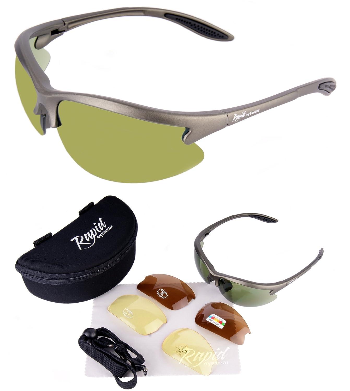 Rapid Eyewear Gafas de sol para Golf Condor con polarizadas, intercambiables a Espejo verdes, ideal con poca luz. Para golfistas, Hombres, Mujeres.