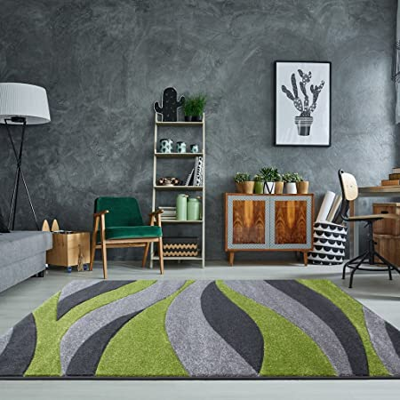 Rio Green Grey Wave Curve Calm Modern Design Living Room Area Rug 80cm X  150cm